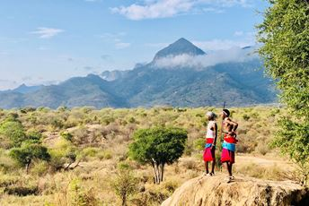 Kenya safari - Kalepo Camp samburu guides overlooking Matthews mountains.jpg
