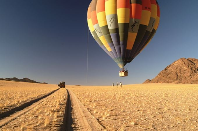 Hot air ballooning over the Namib desert and dunes