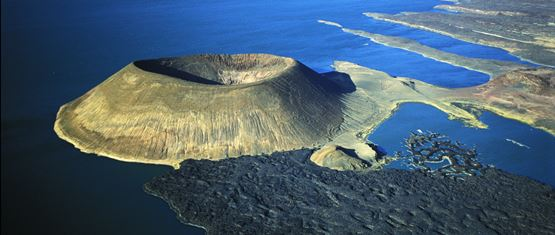 Kenya's Lake Turkana from the air on a private fixed wing safari flight