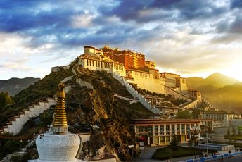 China - Potala Palace perched on a hill in Tibet