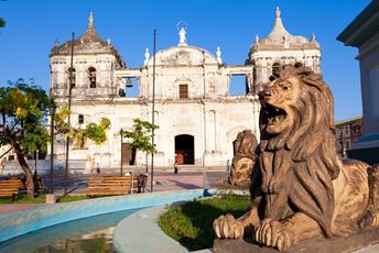 Stone lions in front of Catedral de Lee -  Nicaragua.jpg