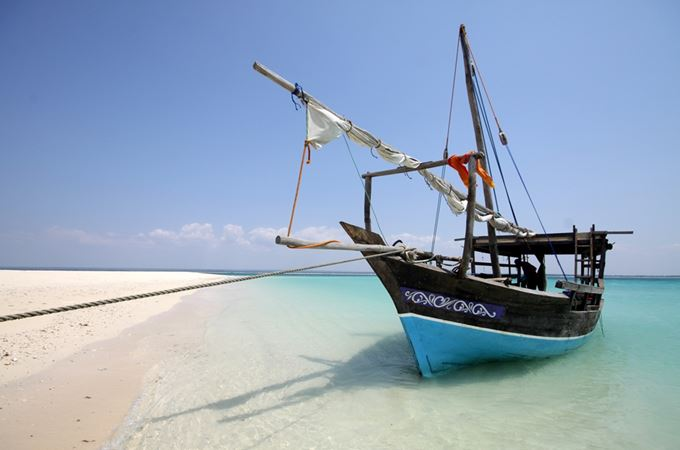 Dhow sailing boat on beach