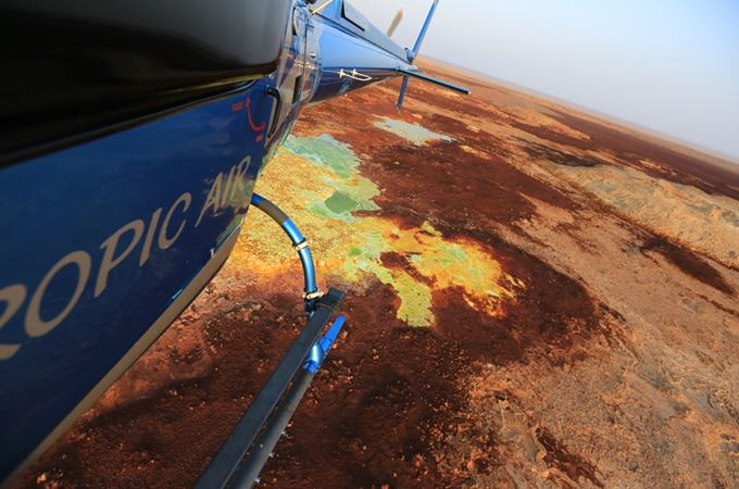 Aerial view of the Danakil Depression on an Ethiopia flying safari