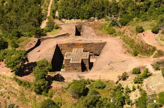 Coptic church in Lalibela aeiral view on an Ethiopia flying safari holiday