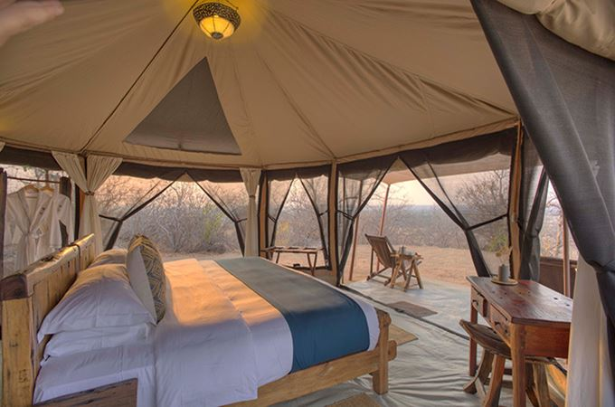 Guest Tent Bedroom and Double Bed of Kichaka Frontier in Ruaha Tanzania