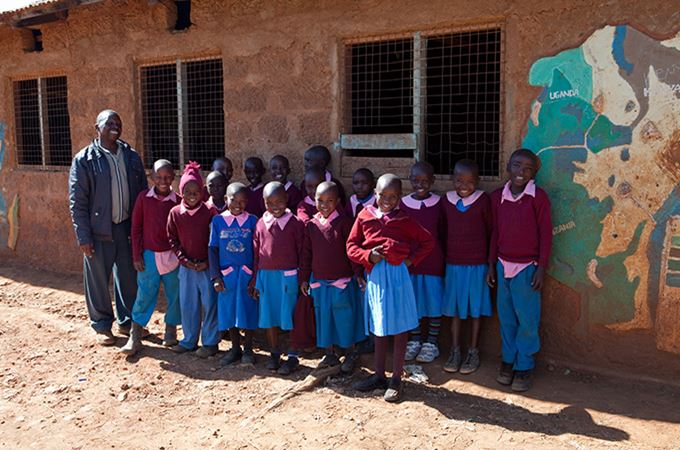 Lewa School with Children and Teacher, Kenya