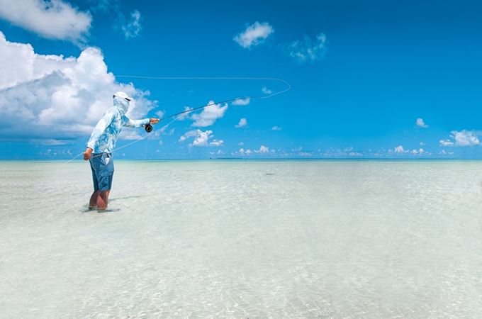 Fly fishing in Outer Seychelles in the ocean