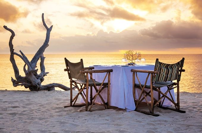 Private beach dinner on outer seychelles islands