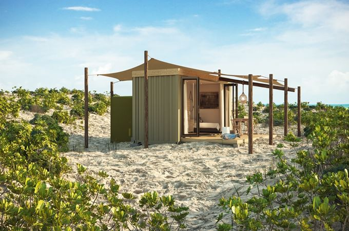 Up-cycled ecopod on Cosmolido island in the Seychelles