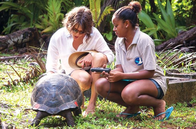 Tortoise with two people gathering data for conservation in the Seychelles