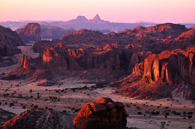 Landscape of the Ennedi rock formations in the desert of Chad