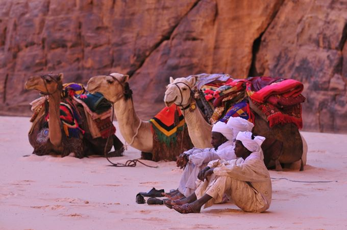 Ennedi herders with their camels in the Sahara in Chad