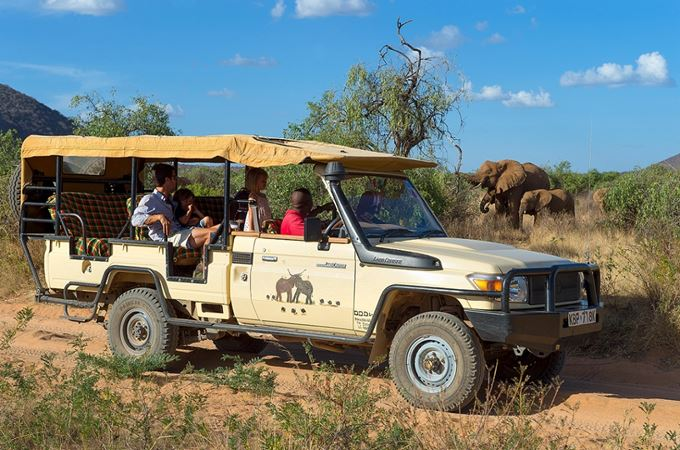 Safari game drive to see elephant at Elephant Watch Camp Kenya
