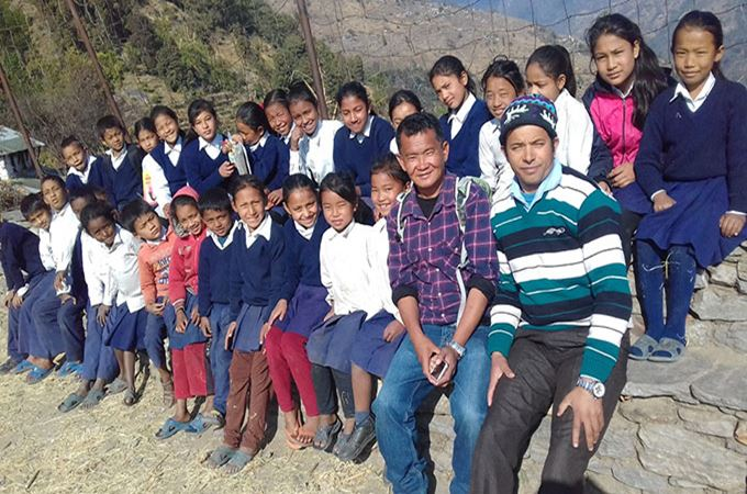 Children from Shree Kurlung School in Nepal
