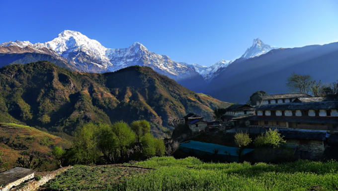 Nepal Annapurna Mountain Range with Blue Sky